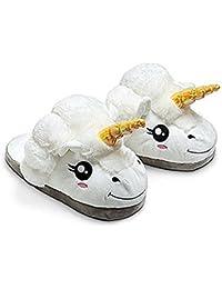 JYSPORT Pantuflas de felpa ligeras para mujer, diseño de unicornio y lunares, espuma de