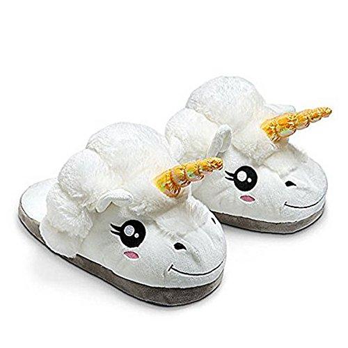 JYSPORT Unicorn-Hausschuhe für Damen, aus leichtem Plüsch und Memory Foam, passend für Erwachsenengrößen 39 - 42, U-white, 39