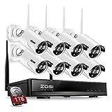 ZOSI 8CH HD 960P Funk Überwachungskamera System mit 1TB Festplatte Wireless HDMI NVR mit 8 Außen 960P WLAN Kamera Video Überwachungsset Indoor / Outdoor, 30M IR Nachtsicht, Schnellzugriff, Bewegungserkennung