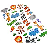 Wild Animal Stickers Lions Monkeys etc - Kids / Childrens Labels for party bags , scrap books , card making or notebook decoration