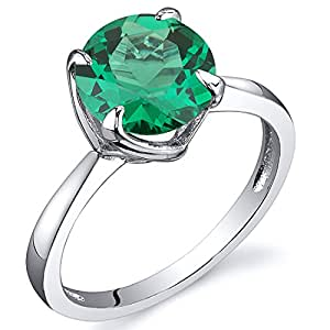 Revoni Sublime Solitaire 1.75 Carats Emerald Ring in Sterling Silver Rhodium Finish