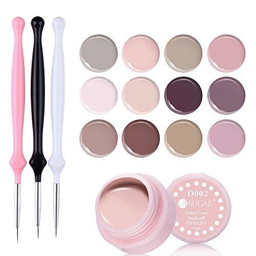 CoulorButtons – Lot de 12 vernis gel UV Ur Sugar 5 ml Nude collection avec 3 pinceaux pour vernis gel UV