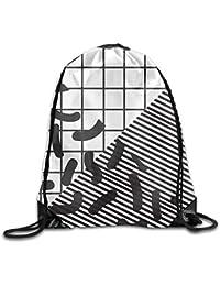 Mochila con cordón a Cuadros de Rayas Blancas y Negras, Bolsa de Viaje para Gimnasio