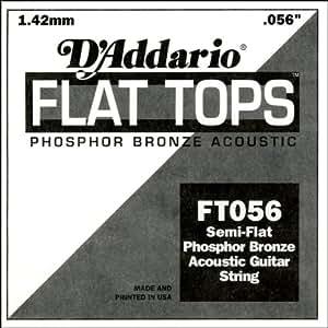 D'Addario Corde seule en bronze phosphoreux et avec filet demi-plat pour guitare acoustique D'Addario FT056, .056