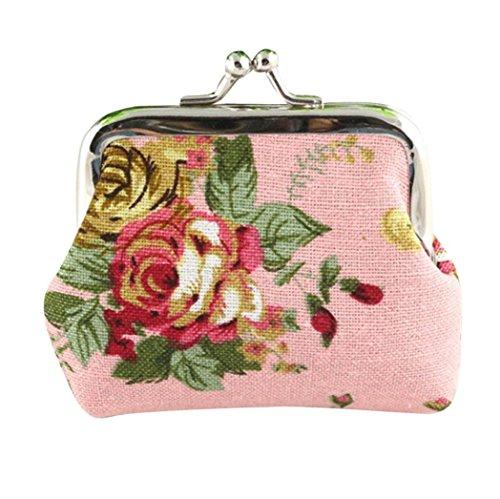 LHWY Mujeres 4- Color Retro Vintage Flor Monedero Pequeño Cerrojo Bolsa Bolso...