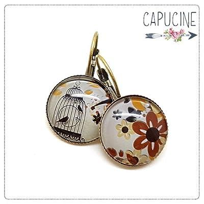 Boucles d'oreilles cage aux oiseaux avec cabochon verre - Boucles d'oreilles dormeuses cage à oiseaux - La Cage aux Oiseaux