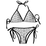 Photo de Thong 2PCS Bikini Sets,Floral Elements Blooming Petals Sexy Bikini 2 Pieces par KAKALINQ