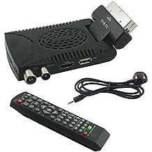Receptor digital terrestre HD Mini DVB T2USB HDMI Toma de euroconector 180° televisores