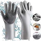 Gants en Silicone, Homga Magic Gloves Gants de Rinçage en Silicone Propres Réutilisables Gants pour Lave-vaisselle, Gant en Caoutchouc pour la Maison, Lave-auto, Résistant à la Chaleur