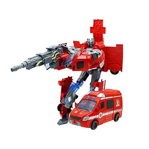 Etbotu Red Transformation Rescue Auto Feuerwehrauto Verformung Roboter Modell Kreatives Spielzeug für Kinder Jungen