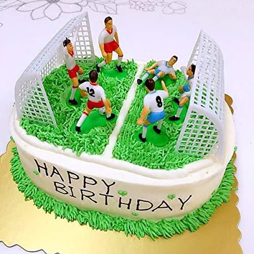 Benradise 8 pezzi Set creativo Campo di Calcio Figure Decorazione per torta Ideale per Compleanno Feste Matrimonio Decorazione per torta Regalo (6 Carino Calcio Piccolo + 2 Porte incluse) Fußball Set