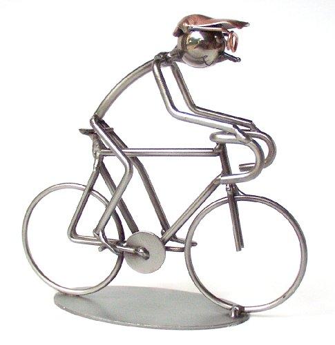 Rennrad bzw Fahrrad als Schraubenmännchen Drahtfigur Drahtmännchen Schraubenkunst Metallmännchen Metallfigur Metallkunst aus Eisen und Kupfer Design Hinz & Kunst - Kunst Eisen