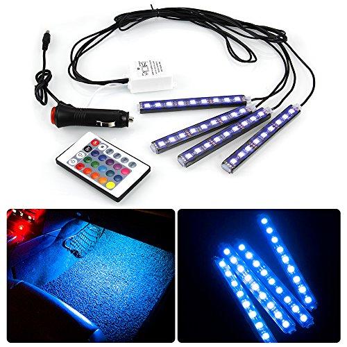 Preisvergleich Produktbild Vitutech Auto Innenraumbeleuchtung LED Leuchten Streifen Auto 4-teiliges Innenraumbeleuchtung Lichtleiste mehrfarbliche für Fahrzeug KFZ Innendekoration Licht kit mit Fernbedienung