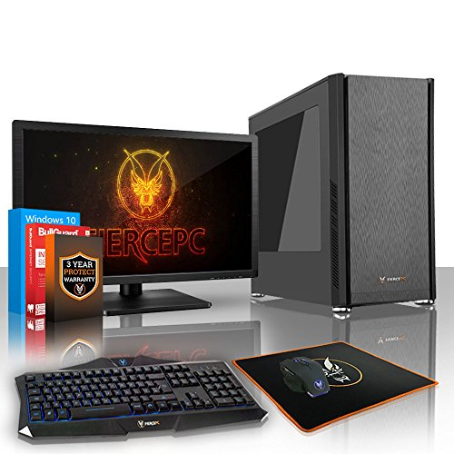 Fierce Phoenix Gaming PC Bundeln - Schnell 3.4GHz Quad-Core AMD Ryzen 3 1200, 2TB SSHD, 8GB, NVIDIA GeForce GTX 1050 2GB, Win 10, Tastatur (VK/QWERTY), Maus, 24-Zoll-Monitor 522283