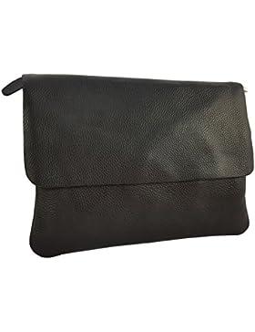 Elegante Große Damen Clutch Echtleder Tasche Abendtasche Metallic 32x23cm