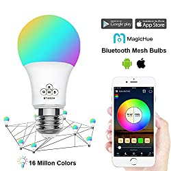 Magichue Neu Farbige Leuchtmittel Sunset Smart Led Bluetooth Lampe Dimmbar Sonnenuntergang E27 Und E26 16 Mio Farben Fuer Android Und Ios (Smart Mesh Rgbw Lampe)