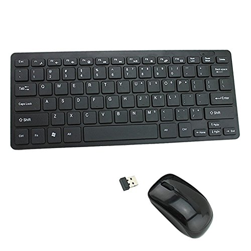 Sharplace 1 Stück 2.4GHz Drahtlose Mini Tastatur mit Staubschutz Hülle Maus und Funk Empfänger für Laptop PC Computer