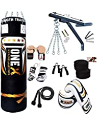 Onex Heavy Filled Punch Bag Set Kick Boxing MMA Training Gloves Punching Mitts Hanging Chains Muay Thai 16 PC Martial Arts 5FT