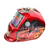 TOPmountain Máscara De Soldadura De Oscurecimiento Automático del Casco De Soldadura, Casco De Soldadura Alimentado con Batería Solar Equipo De Protección - Rojo Need For Speed
