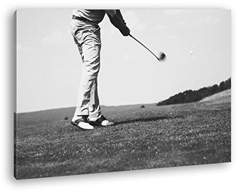 erfahrener Golfspieler Format: 120x80 Effekt: Schwarz/Weiß als Leinwandbild Motiv fertig gerahmt auf Echtholzrahmen, Hochwertiger Digitaldruck mit Rahmen, Kein Poster oder Plakat