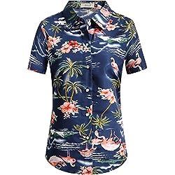 SSLR Camisa Hawaiana Mujer Blusa Flamencos Floral Casual para Verano (Large, Azul Oscuro)