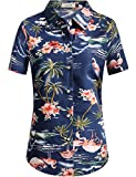 SSLR Damen Blumen Flamingos Freizeit Aloha Hawaii Blusen (Large, Dunkelblau)