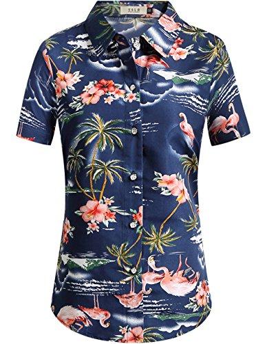 SSLR-Camisa-Hawaiana-Mujer-Blusa-Flamencos-Floral-Casual-Para-Verano