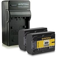 PATONA Cargador + 2x Batería NP-FV50 para Sony DCR-SR58E | SR68E | SR78E | SR88E | SX41E | DVD110E | DVD115E | SX15E | SX33E | SX50E | DVD310E | HDR-XR155E | XR350E