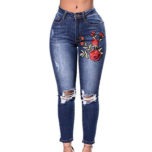 Wenyujh Damen Jeanshose Denim Jeans Bleistift Hose Stretch Hose Ripped mit Löchern Bluemn Stickerei Hoch Taille (Bleistift-bein-hose)