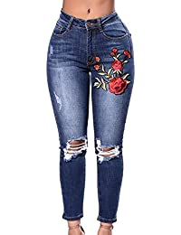 36c9c1fb2ac97c Wenyujh Damen Jeanshose Denim Jeans Bleistift Hose Stretch Hose Ripped mit  Löchern Bluemn Stickerei…