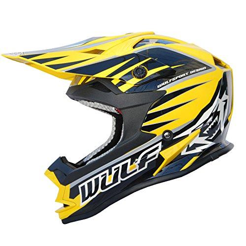 Wulf Advance Motocross-Helm, Herren Damen, gelb, 69-60 cm (l)