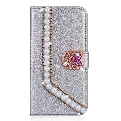 Miagon Hülle Glitzer für iPhone 6S / 6,Luxus Diamant Strass Perle Herz PU Leder Handyhülle Ständer Funktion Schutzhülle Brieftasche Cover,Silber - Fransen Herz