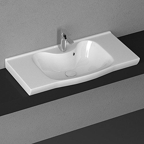 Aqua Bagno Keramik Waschbecken 90 cm Waschtisch Möbelwaschtisch Aufsatz-Waschtisch Becken weiss