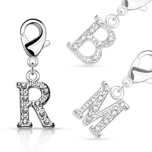 Bungsa® A - Silberner Buchstaben Kristall Charm Anhänger für Bettelarmband Ohrring Halskette Zirkonia Damen Herren Kinder (Kettenanhänger Pendant Beads A B C D E F G H I J K L M N O P R S T U V W Z )