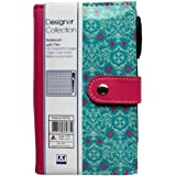 "Slim Leather Bound Pocket Notebook & Pen Set - ""Stylish Green & Pink"" Design - Size 155mm x 94mm"