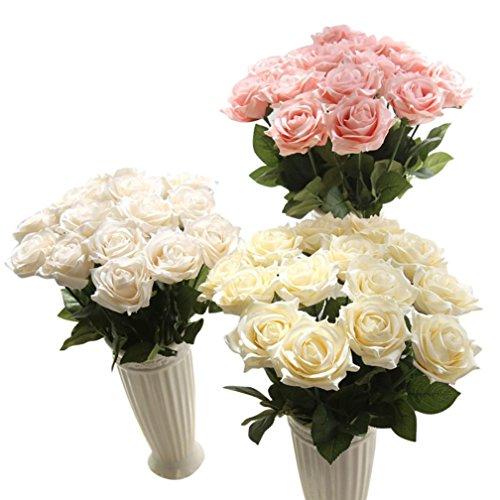 Winkey artificielle Faux Fleurs, roses Floral Bouquet de mariage fête Home Decor, romantique Fleurs Heartfelt roses, blanc, 43 cm