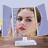 WLAY Schminkspiegel Mit Lichtern Große Dreifachgefaltete Tischleuchte Faltbarer Waschtisch Quadratische Prinzessin Gift Makeup Lamp,White