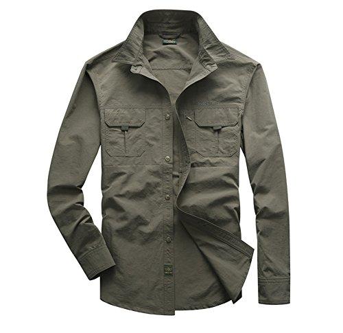 Camicie leggera stile militare da uomo asciugatura veloce safari manica lunga esercito verde xl