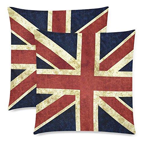 Liuzhis 2 Stück Vintage Britische Flagge Union Jack Baumwolle Überwurf Kissenbezug 18x18 Doppelseitig Rot Blau Flagge England Reißverschluss Kissenbezug Set Deko für Couch Bett -