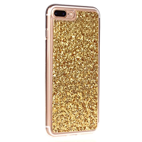 SainCat Coque Housse pour Apple iPhone 7 Plus,Transparent Brillante Coque Silicone Etui Housse Brillante,iPhone 7 Plus Silicone Case Soft Gel Cover Anti-Scratch Transparent Case TPU Cover,Fonction Sup Or#