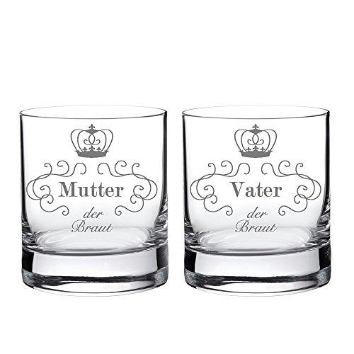 2 Whiskygläser im Set - Eltern der Braut - Standard - Tumbler Whiskyglas als Geschenkidee für Mama und Papa - Hochzeitsgeschenke