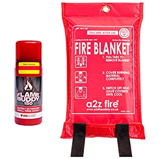 Fire Extinguisher & Fire Blanket Home Kit - Safe For Cooking Oil/Fat Fires & Class A (Wood/Paper/Cloths/Plastic) - Maintenance Free - EN Certified BSi Kitemarked