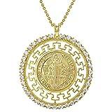 In Season Jewelry - Colgante de Medalla de San Benito para Mujer (Chapado en Oro de 18 Quilates, con circonitas cúbicas Transparentes, 48,2 cm)