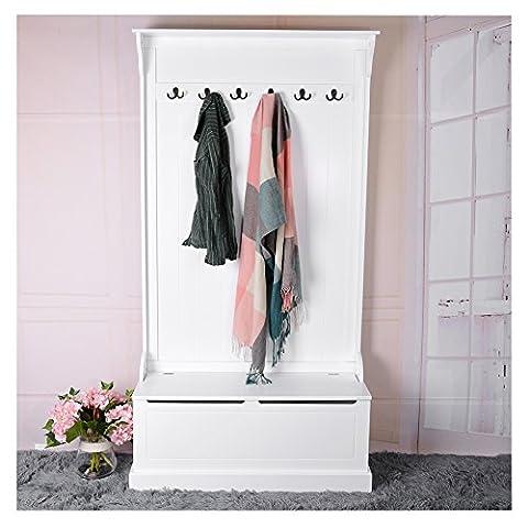 Panana Garderobenständer 12 Kleiderhaken und 1 Schublade Mehrzweck Kleidungschrank 180 X 95 X 34CM Garderobe aus Holz - Weiß
