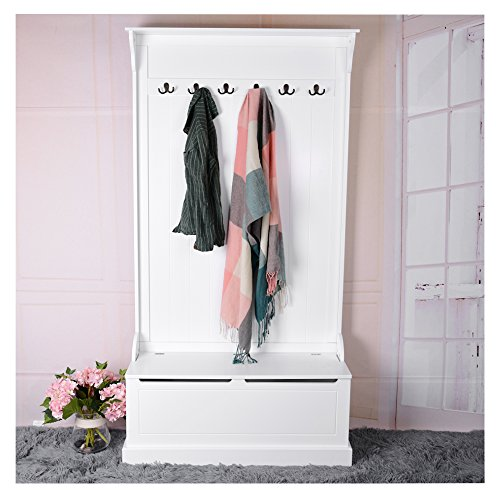 Tuff Concepts Hallway Bench and Coat Hook Shoe Storage in White 95.6 x 34 x180 cm