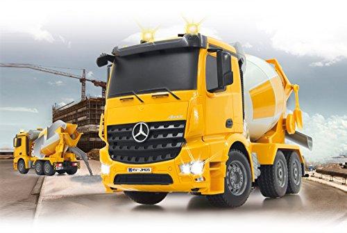 RC LKW kaufen LKW Bild 1: Jamara 404930 - Betonmischer Mercedes Arocs 1:20 2,4GHz – rechts / links drehende Mischtrommel mit Entladefunktion, realistischer Motorsound,Hupe,Rückfahrwarnsound,4 Radantrieb,gelbe LED Signallichter*