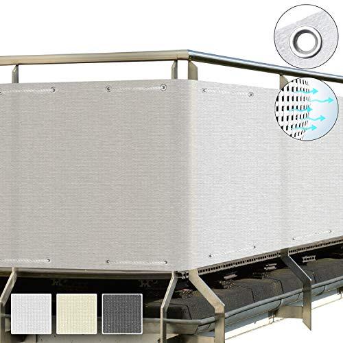 Sol Royal SolVision Balkon Sichtschutz HB2 HDPE blickdichte Balkonumspannung 90x300 cm - Weiß - mit Ösen und Kordel - in div. Größen & Farben