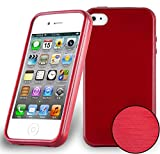 Coque Apple iPhone 4 / iPhone 4S en ROUGE CERISE de Cadorabo (Design METAL BROSSÉ BRUSHED) Housse en Gel TPU Silicone Souple Ultra Mince avec Anti Choc – Coque de Protection Etui Case Cover Ultra Slim Fine Bumper