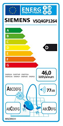 Siemens VSQ4GP1264 Q 4.0 Bodenstaubsauger EEK D (green power allergy, 5 L Staubbeutelvolumen, inklusive umfangreichem Zubehör) schwarz - 2