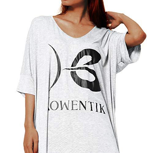 Kowentik Donna Pigiama Camicia da Notte T Shirt Vestito Sciolto Plus Size Scollo V Pigiama Modal Donna Nero/Grigio
